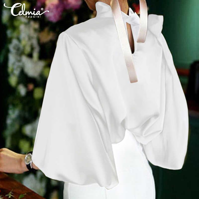 Модная блузка Топы женские элегантные с длинным рукавом однотонные черные белые Повседневная Блузка Свободные открытые пуговицы Blusas 2019