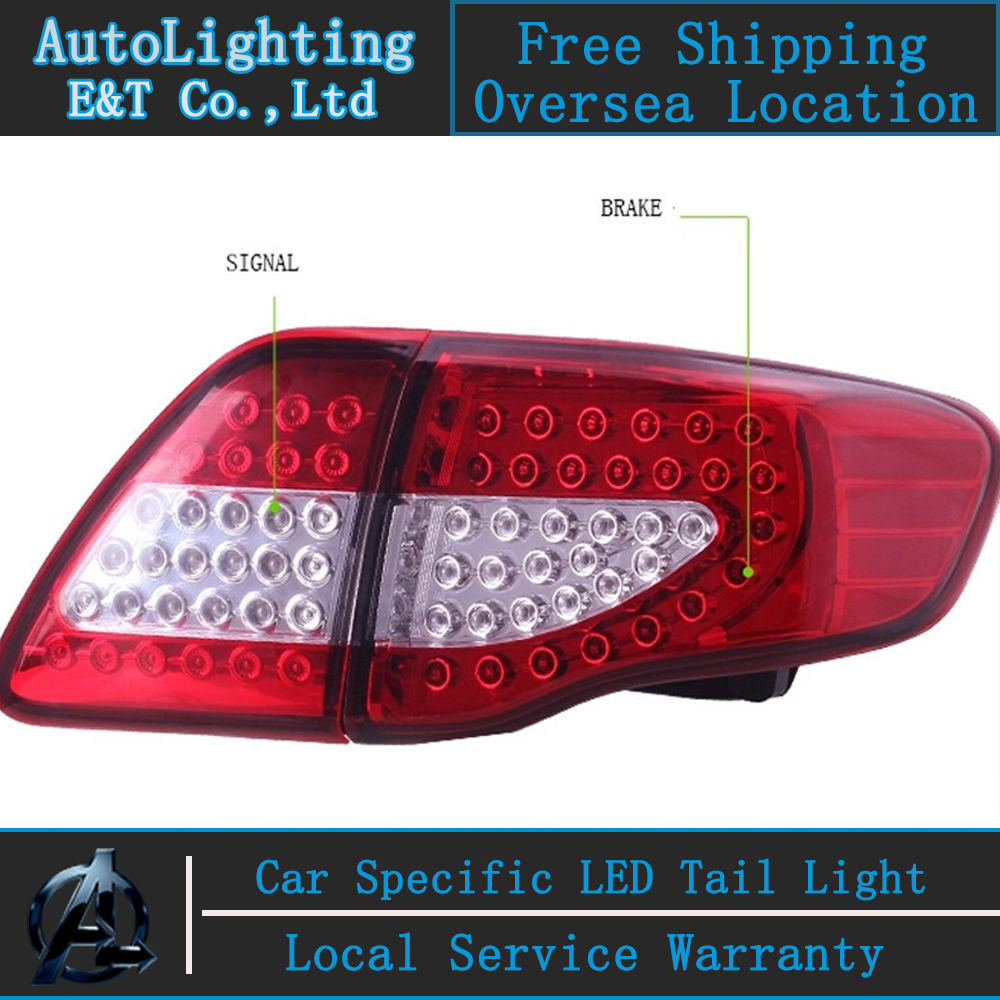 Shipping Option LED Tail Light for Toyota Corolla tail lights 2007-2010 Altis led rear trunk lamp cover drl+signal+brake+reverse woobest abs rear wing rear trunk rear spoiler for toyota corolla altis 2014 2017 new design top quality