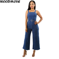 Fashion Halter Backless Sexy Jeans Wide Leg Blue Long Jumpsuit Women Sleeveless Jumpsuit Casual Clubwear Pants Outfit Rompers