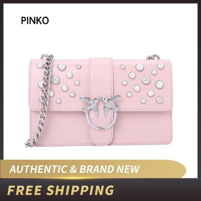 1cd2b951690 Pinko Women's LOVE LEATHER PEARLS Shoulder Bag 1P216H Y4YB-in ...