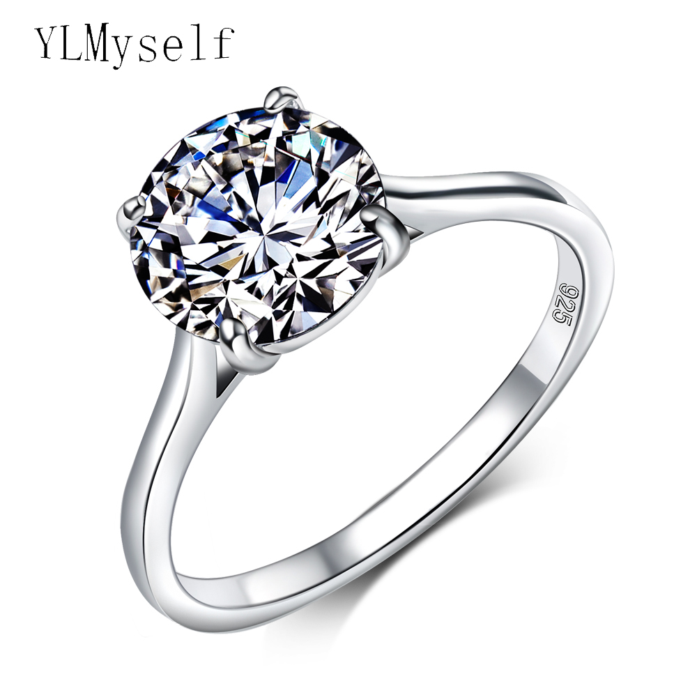Engagement 925 Silver Ring Pave Shiny Round Cut 9mm Amp 6mm