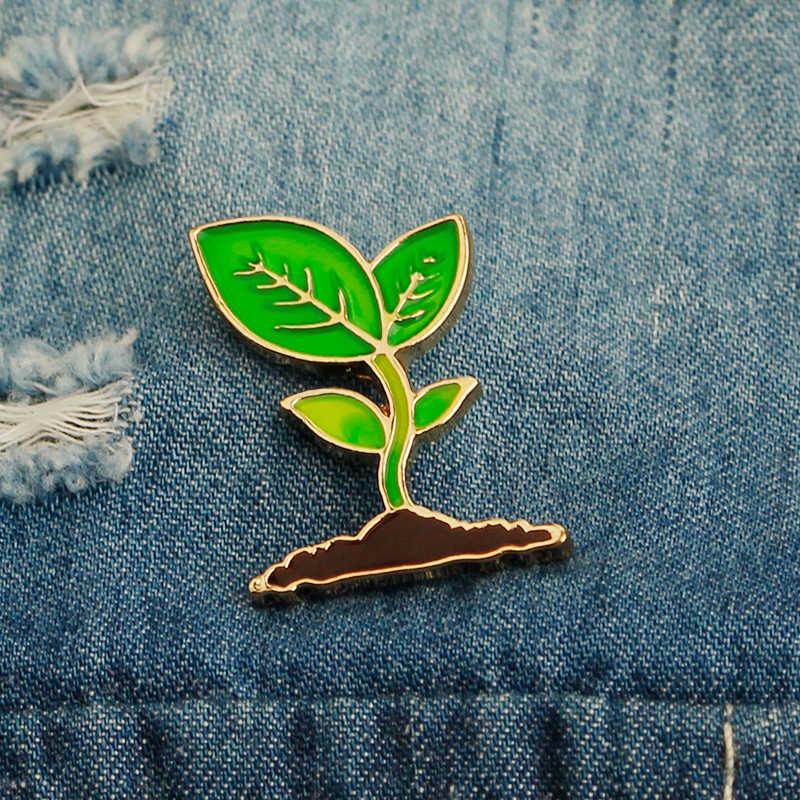 Zhijia germogli di soia piantina Dello Smalto Spilli E Spille Naturale verde albero piantina pianta distintivo spille per le ragazze