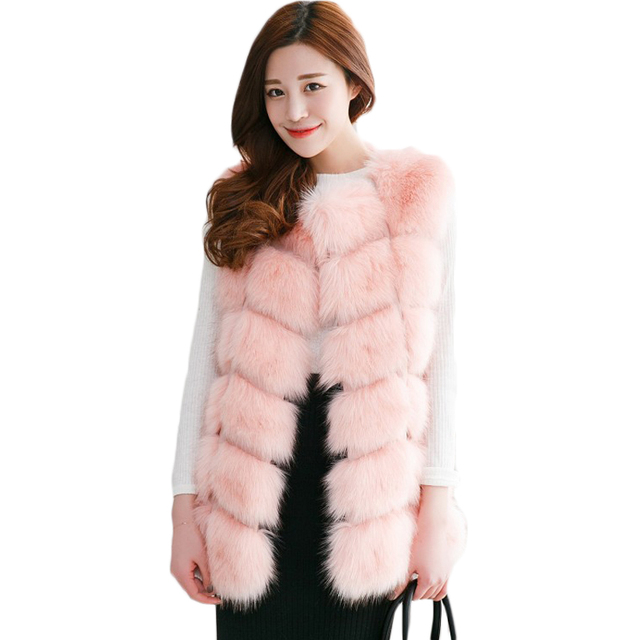 Rihschpiece Winter Faux Fur Vest Women Long Vests Coats Sleeveless Jacket Waistcoat Womens Jackets Plus Size 3XL RZF570