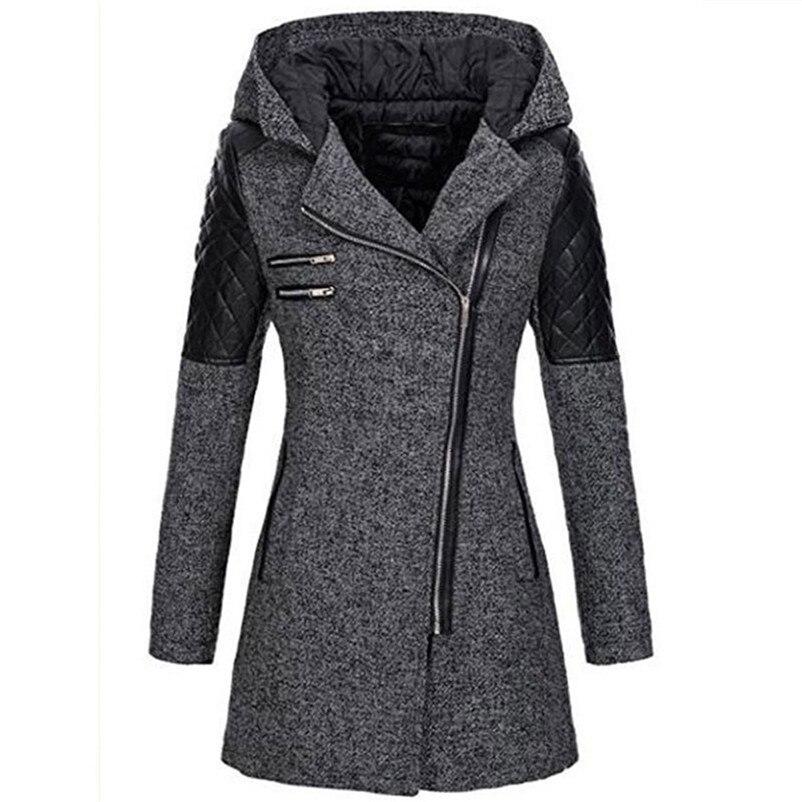 Outwear Spessore Maniche Lampo Cappuccio Inverno Donne Gray Lunghe A Cappotto  Sottile Di Causale Del Cotone Parka Chiusura Della Con ... c04eea44650