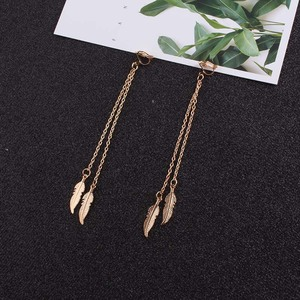 JIOFREE Long chain Alloy feathers Clip on Earrings Non Piercing For Women Girts Fashion Party Wedding Ear Jewelry Gifts