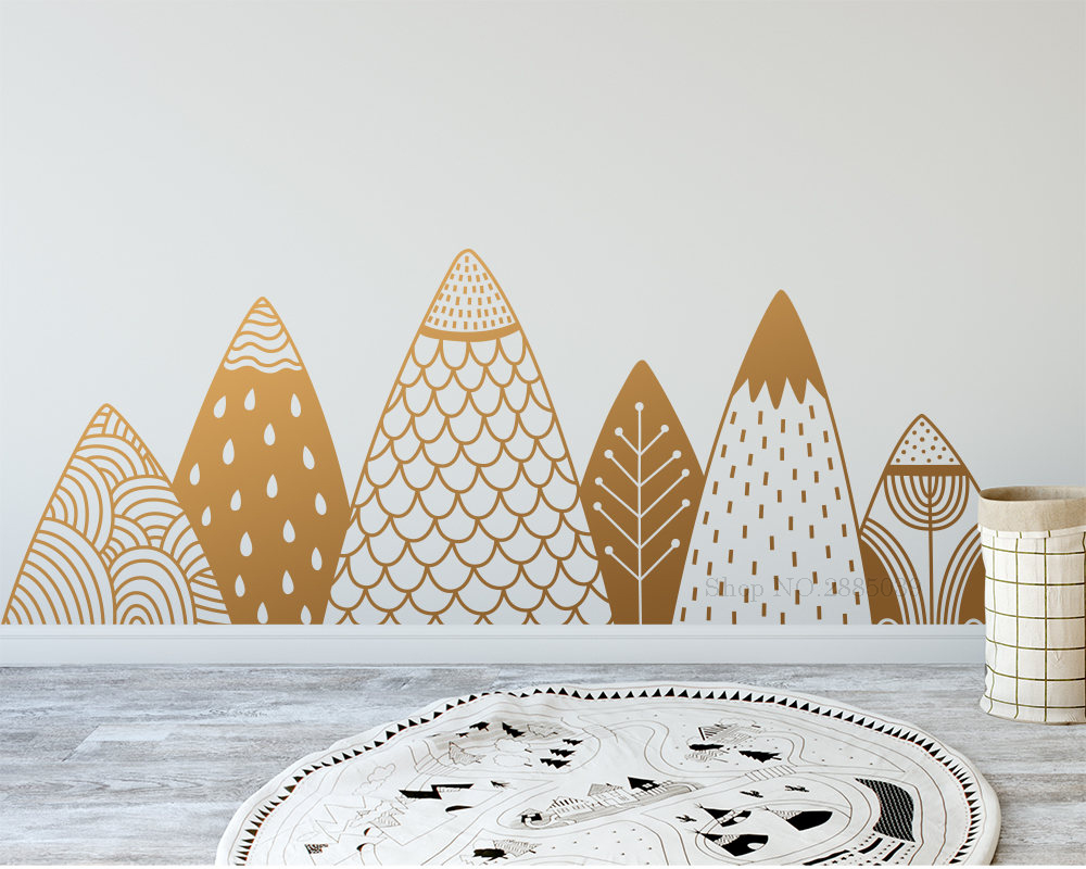 Gold mountains woodland wall stickers for kids bedroom - Childrens bedroom wall stickers removable ...
