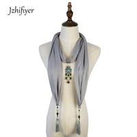 Jzhifiyer Women Foulard Pendant Shawl Jewelry Fringe Hijab Scarf Necklace Beads Neckerchief Cotton Scarf Accessories Bandelette