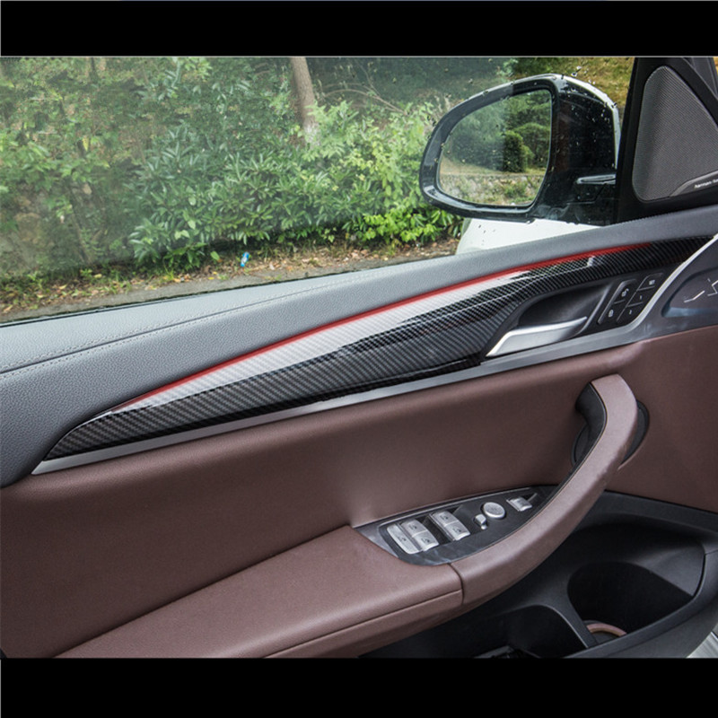 ABS 4pcs Car Door Panel Decoration Cover <font><b>Trim</b></font> For <font><b>BMW</b></font> <font><b>X3</b></font> <font><b>G01</b></font> G08 2018 <font><b>Carbon</b></font> Fiber Style Auto Interior Modified Decals image