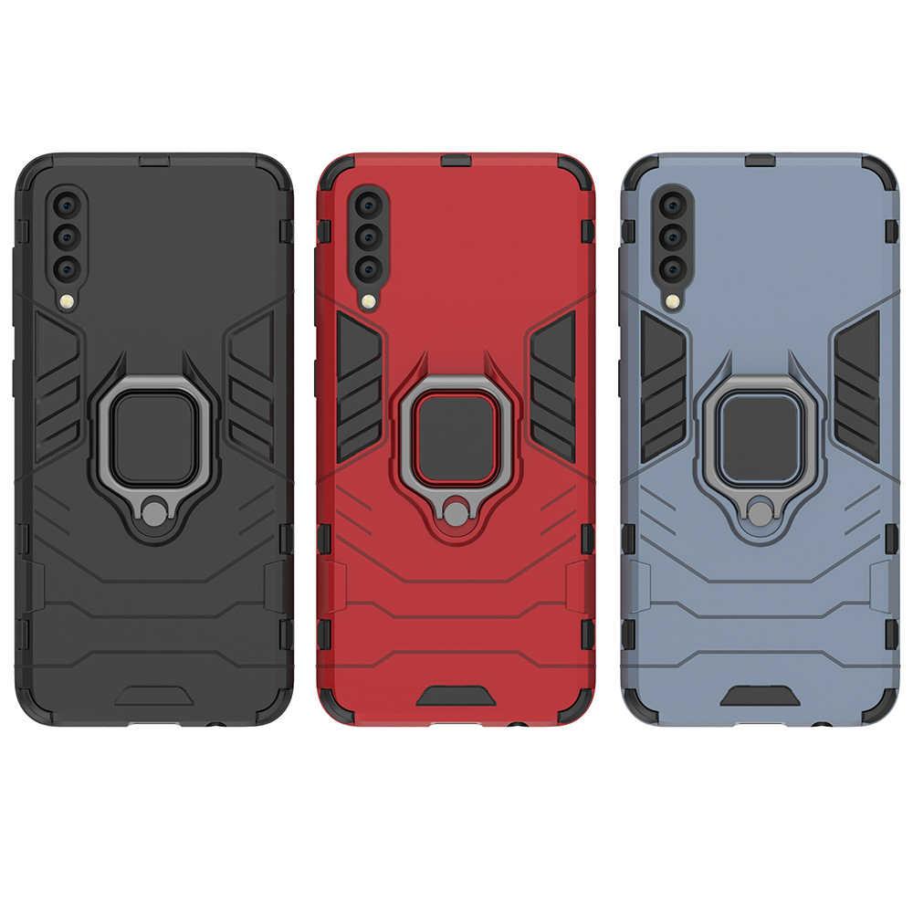 "Zırh halka Samsung kılıfı Galaxy A50 kılıf manyetik araba tutun yumuşak tampon telefon kapak için Samsung A50 A 50 2019 SM-A505F 6.4"""
