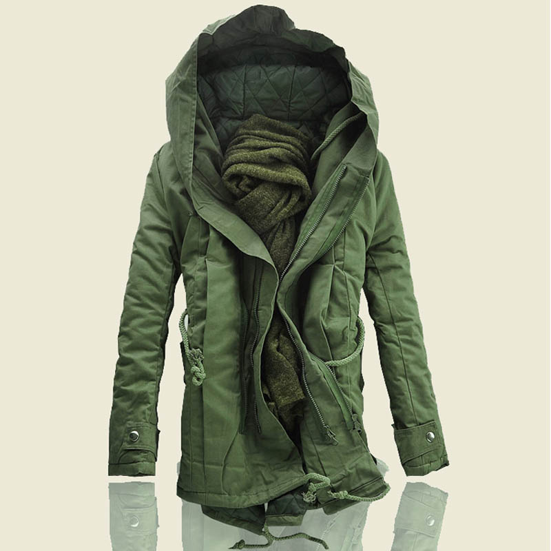 Yayu Mens Fashion Long Sleeve Thicken Jacket Warm Double Hooded Quilted Cotton Coat