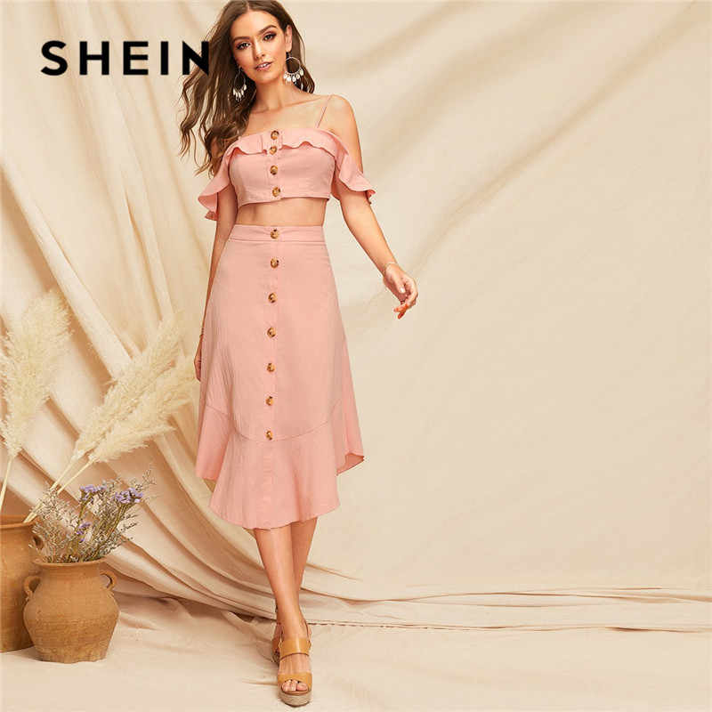 SHEIN Pink Glamorous Ruffle Trim Cami Crop Top And Buttoned Curved Hem Skirt Set Summer Vacation Women Two Piece Outfits