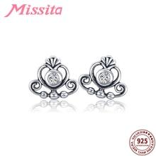 MISSITA 925 Sterling Silver Clear CZ Heart Crown Earrings for Women Wedding Jewelry Brand Stud HOT SELL Gift