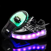 2019 USB Charging Luminous Shoes Sneakers with Wheels on Led Light Sports Roller Skate for Children Boys Girls Led Shoes