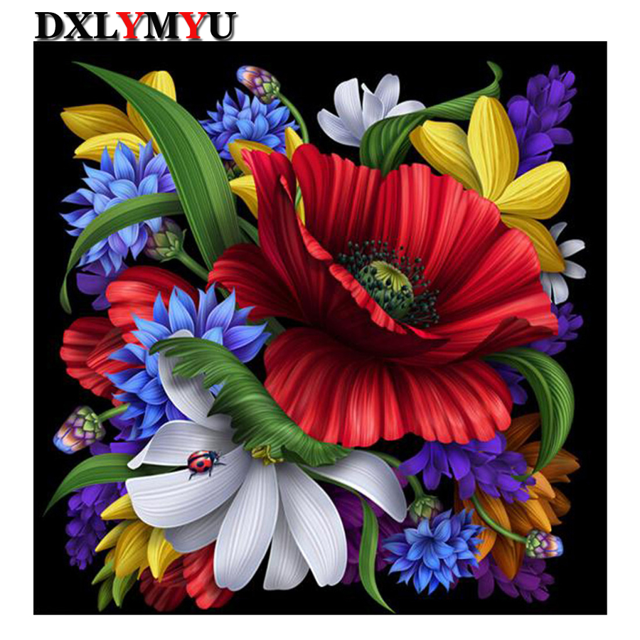 Diy 5d Diamonds Embroidery Beatles And Flower Full Diamond Painting
