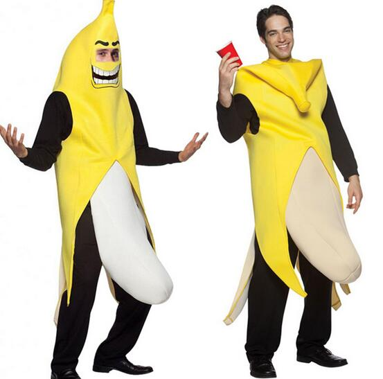 2016 high quality men cosplay adult fancy dress funny sexy banana costume novelty halloween christmas carnival party decorations in anime costumes from