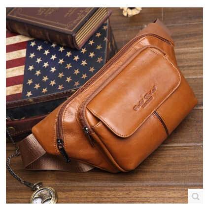 Skórzana torba z prawdziwej skóry moda męska torby z paskiem mężczyzna małe talii opakowanie mężczyzna dorywczo Crossbody torba na ramię