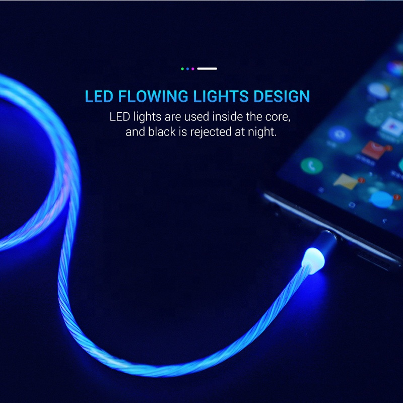 Hot Flow Luminous Lighting Magnetic USB Cable For iPhone XR X 7 8 Micro Type C Charger