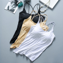 Summer Ice Silk No Ttrace Sling Vest Bra with Detachable Chest Pad Comfortable Breathable Fabric Sleep Underwear