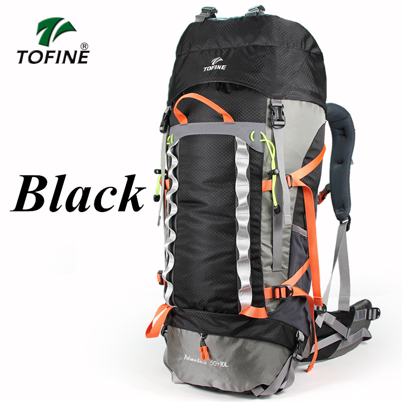 TOFINE  50+10L Professional Waterproof Mountaineering Bag  Rucksack  Frame Climbing Camping Hiking Backpack sport  bags free shipping professional waterproof rucksack internal frame climbing camping hiking backpack mountaineering bag 60l