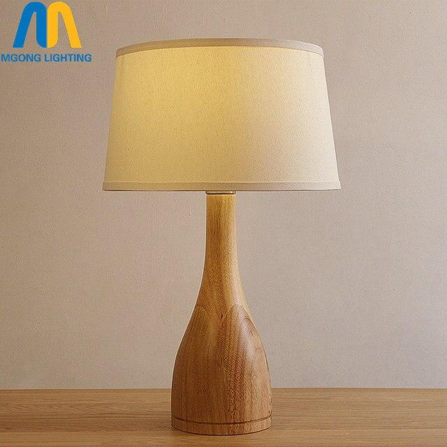 Modern Wooden Table Lamps For Bedroom Vintage Decoration Art Deco Chinese  Lights E27 110v 220v