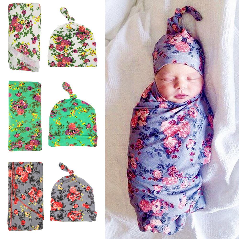 2017 Fashion Floral Newborn Baby Accessories Hat And Baby Wrapped Blanket Set 0 3M Photo Props