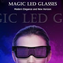 Magic Bluetooth Led Glasses Luminous Party  Flashing Neon Glowing Sunglasses USB App Control DIY Edit DJ Christmas
