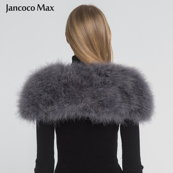 Jancoco Max 2019 Real Fur Cape Shrug Women Genuine Ostrich Feather Fur Shawl Poncho Fashion Hot Sale One Size S1264 1