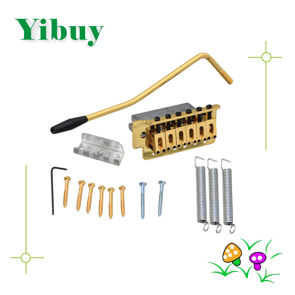 Yibuy Gold Tremolo Bridge Set For Electric Guitar yibuy free shipping gold tremolo bridge set for electric guitar
