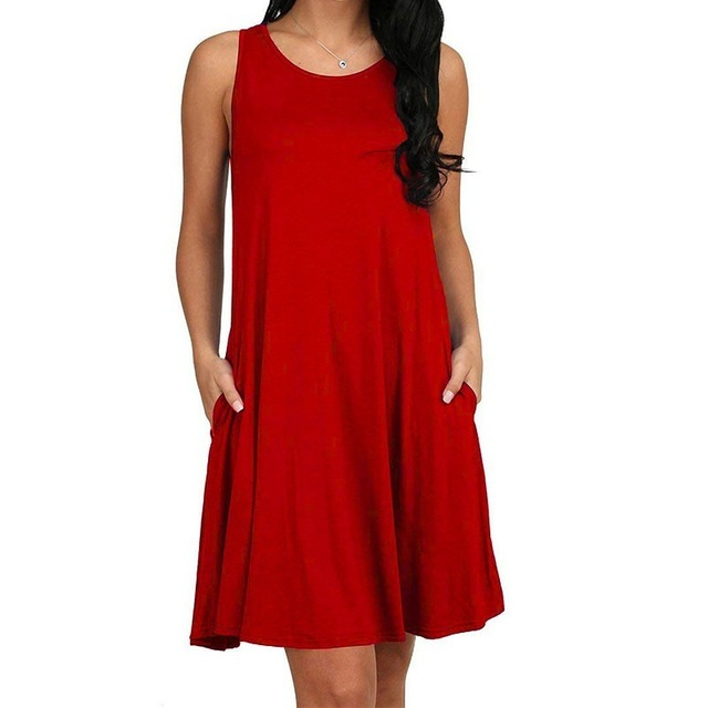 Women Casual Summer Dress Plus Size O-neck Tank Top Loose Clothing Side Pocket Fashion Sexy Ladies Solid Sleeveless Dresses 5XL 5