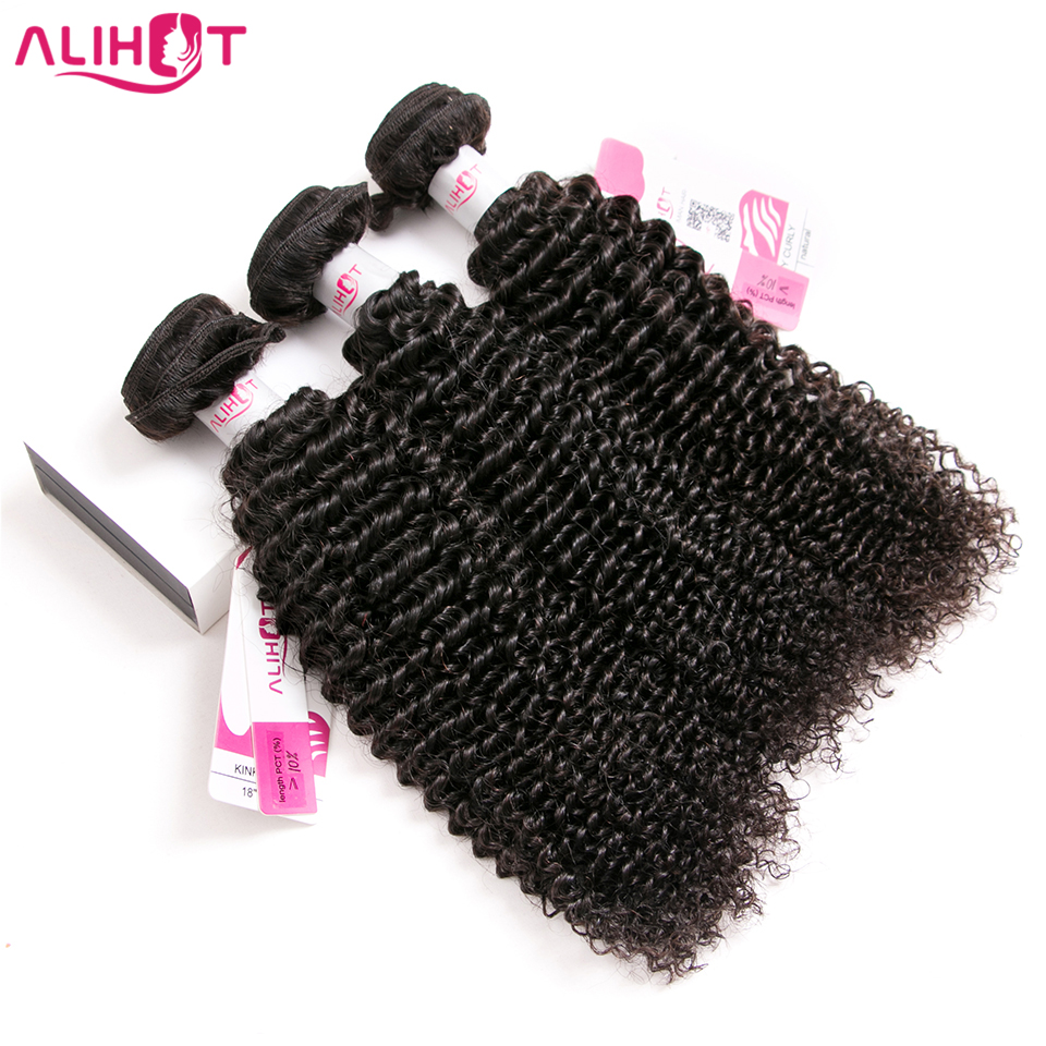 ALI HOT Hair Malaysian Kinky Curly Hair 3 Bundles Deals Double Weft Human Hair Bundles Weaving Natural Color Remy Hair Extension