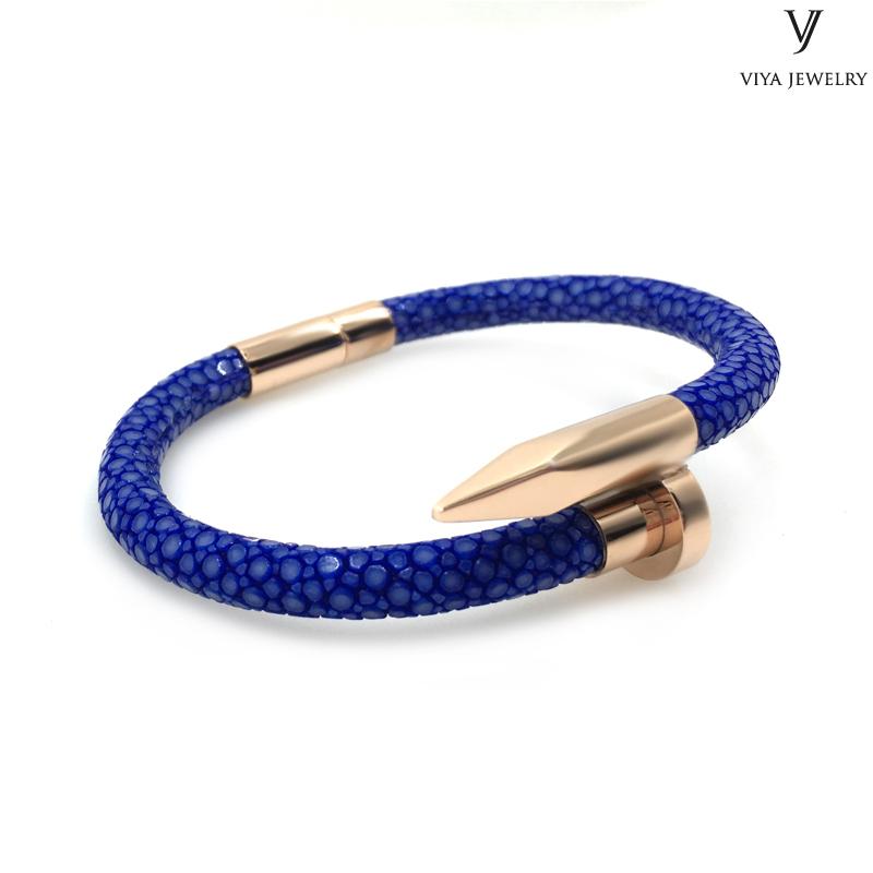 blue stingray leather nail bracelet men bracelet (8)