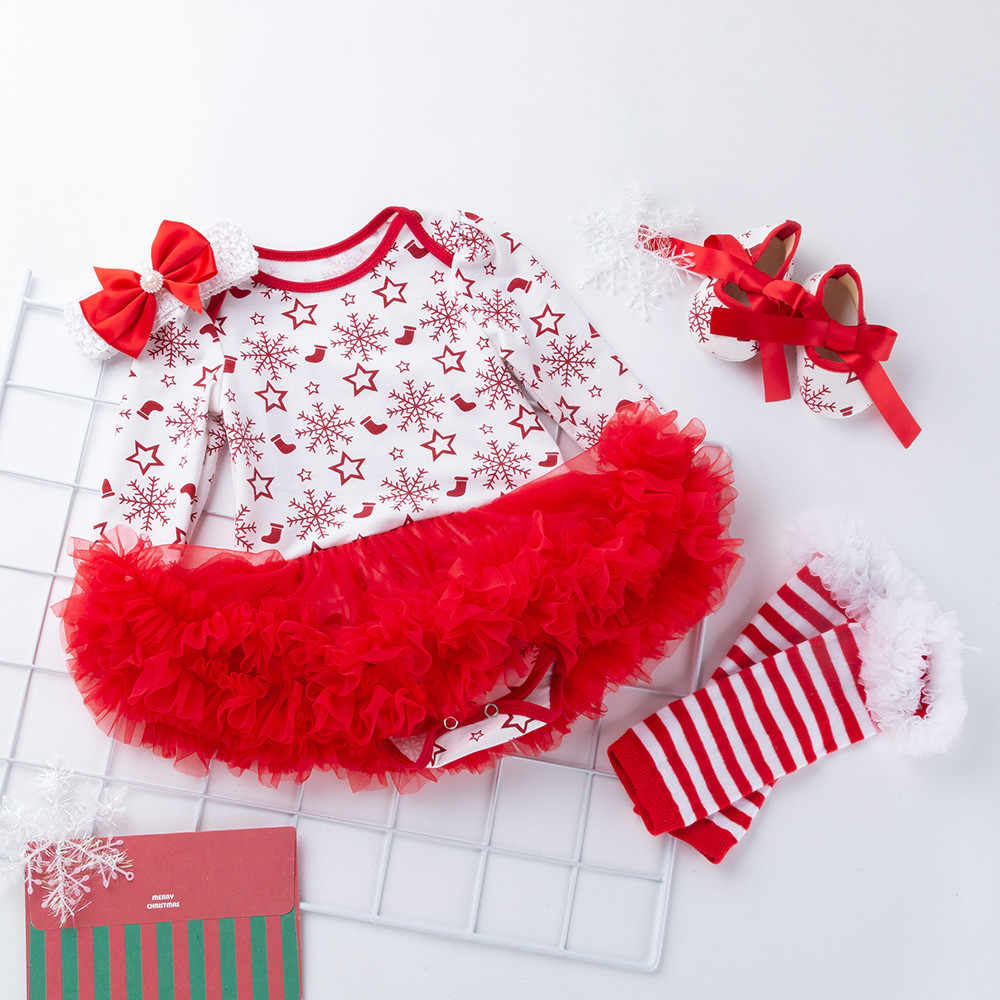 תינוק שמלות בנות יילוד סתיו וחורף חג המולד ארוך שרוול הדפסת פתית שלג פאף חצאית נסיכת שמלת חליפת ארבעה חלקים