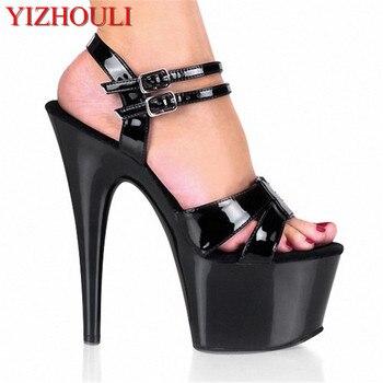 17cm Women High Square Heel Platform Summer Punk Shoes 7 Inch High Heel Fashionable Platform Pole Dancing Shoes