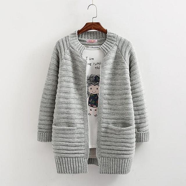 2017 chaqueta de punto con bolsillos mujeres del resorte prendas de vestir exteriores medio-largo suéter flojo