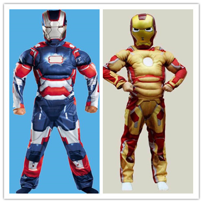 Hero Iron Man Cosplay Costume Easter Boys Cosplay Muscle Mask Costume for Kids