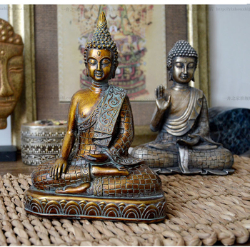 Resin imitation bronze Buddhism Bodhisattva Sakyamuni Buddha Statue sculpture Vintage Buddha head crafts Exorcise evil spirits