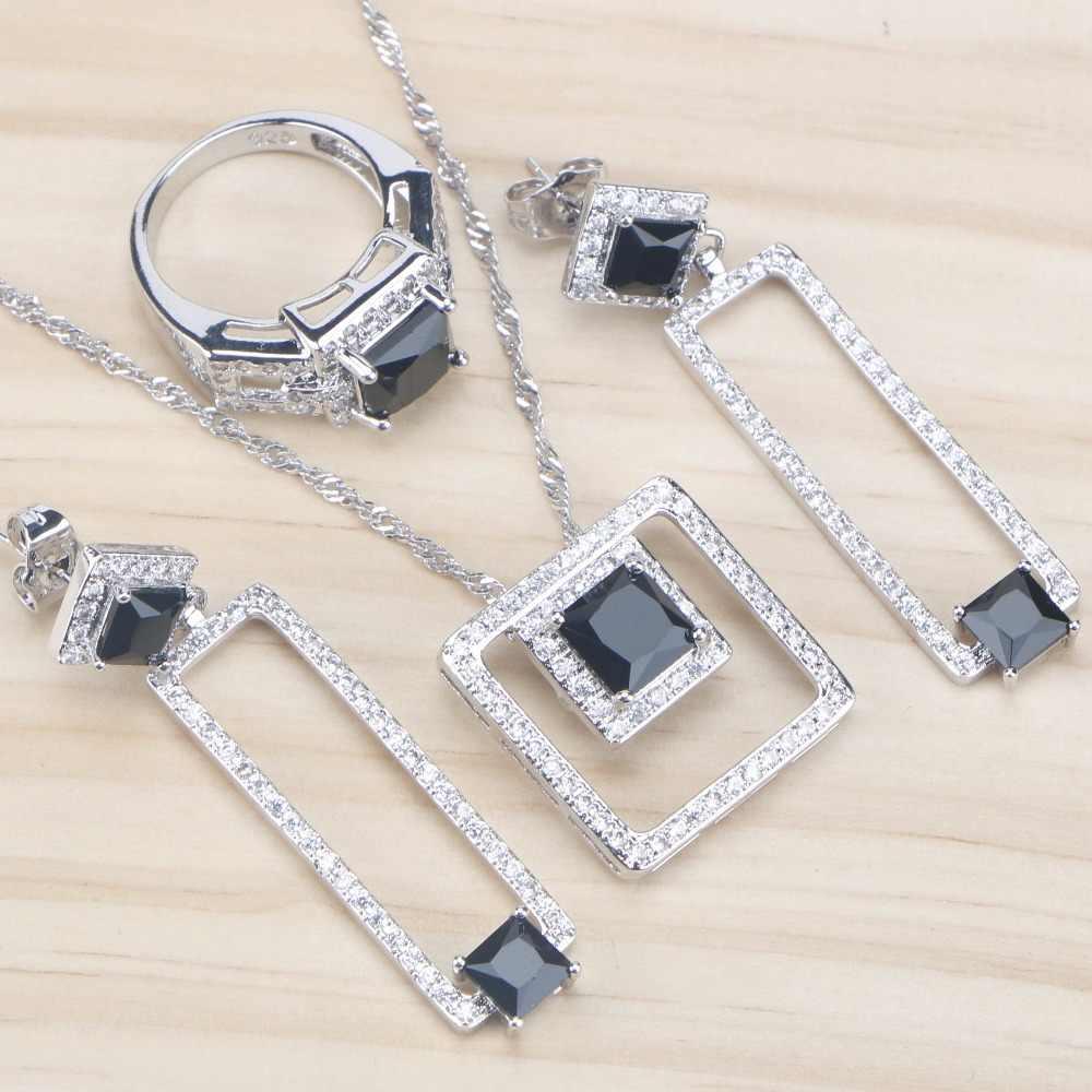 Schwarz Stein Zirkonia Braut Schmuck Sets Silber 925 Schmuck Mit Anhänger Halskette Ohrringe Für Frauen Schmuck Set Geschenke Box