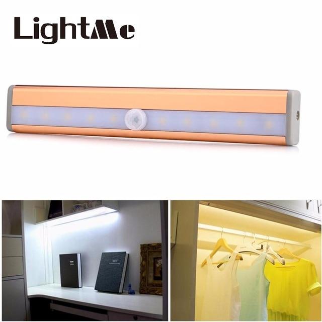 Inicio cocina 10 LED PIR movimiento infrarrojo sensor armario luz ...