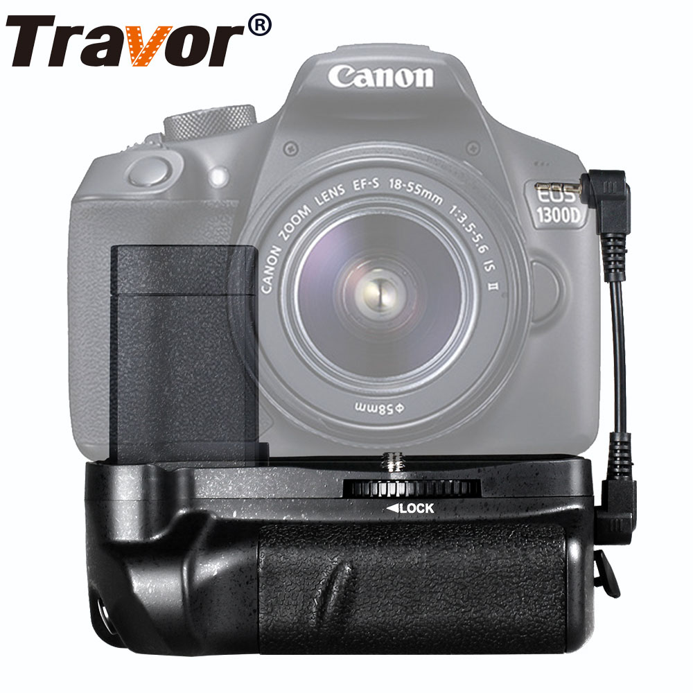 цена на Travor battery grip holder for canon 1100d 1200d 1300d Rebel T3 T5 T6 EOS Kiss X50 DSLR camera work with LP-E10 Battery