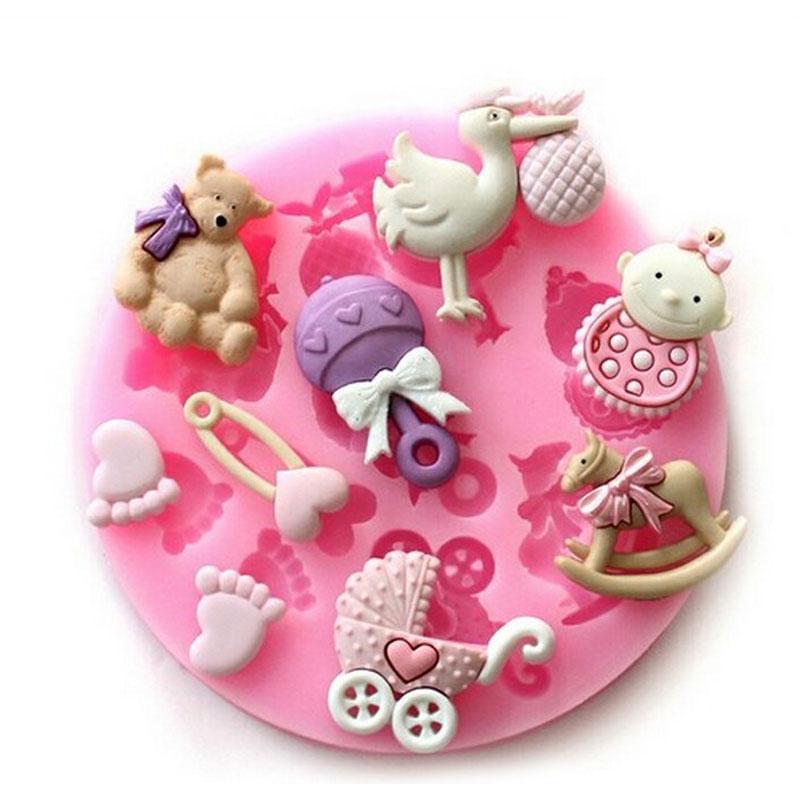 Molde De Silicona 3D Baby Shower Partido Molde de La Torta Del Jabón Del Arte De