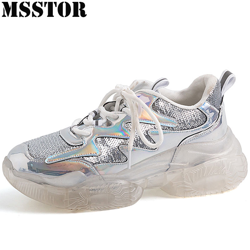 MSSTOR Plus Size 35-42 Crystal Sole Womens Running Shoes Casual Fashion Bling Ladies Sneakers Athletic Walking Sport Shoes Brand