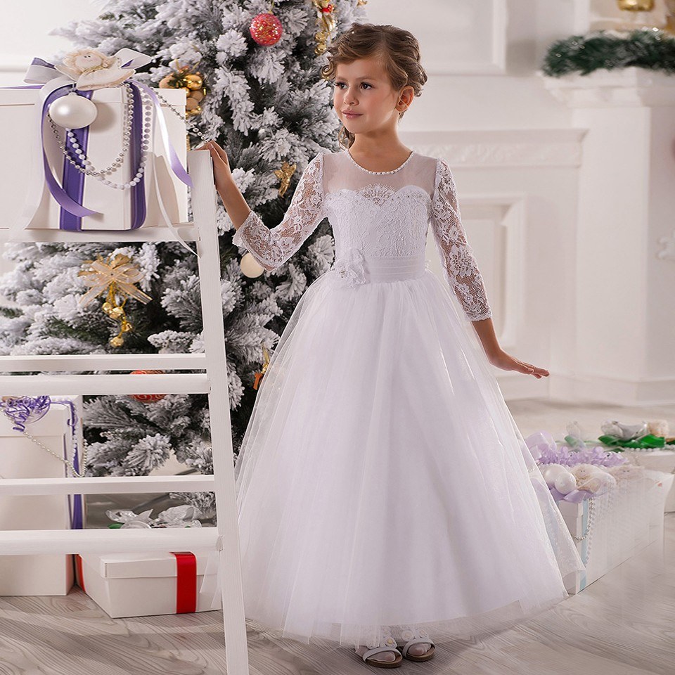 Beauty Princess Pageant Dresses White Long Sleeves Ball Gown O-Neck Lace Zipper Flower Girl Dress Vestido De Daminha white round neck long sleeves casual dress