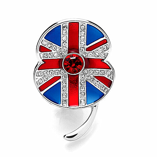 1 45 Inch White Gold Tone Rhinestone Crystal British UK Flag Poppy Flower Brooch Remembrance Day