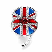 1.45 Inch White Gold Tone Rhinestone Crystal British UK Flag Poppy Flower Brooch Remembrance Day Pins