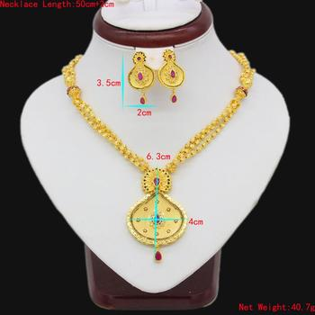 Adixyn New Necklace/Earring/Pendant Jewelry Set Women Gold Color Crystal Jewelry African/Ethiopian/Dubai Wedding/Party Gifts