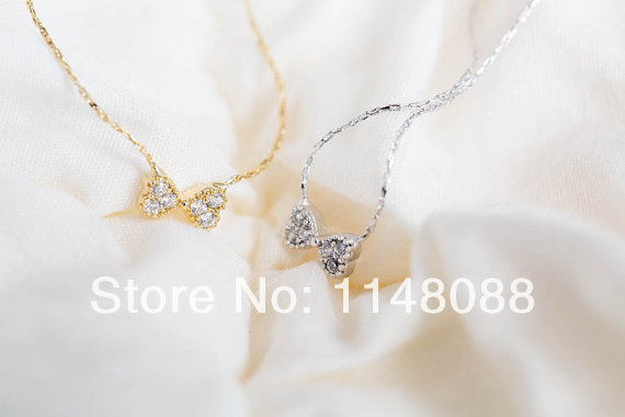 New fashion gold silver noble unique exquisite workmanship crystal cz ribbon Bow necklace wedding gift