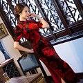 Черный Красный Длинные Стройные Женщины Cheongsam Dress Китайские Дамы Велюр Qipao новинка Сексуальная Цветок Dress Размер Ml XL XXL XXXL F090416