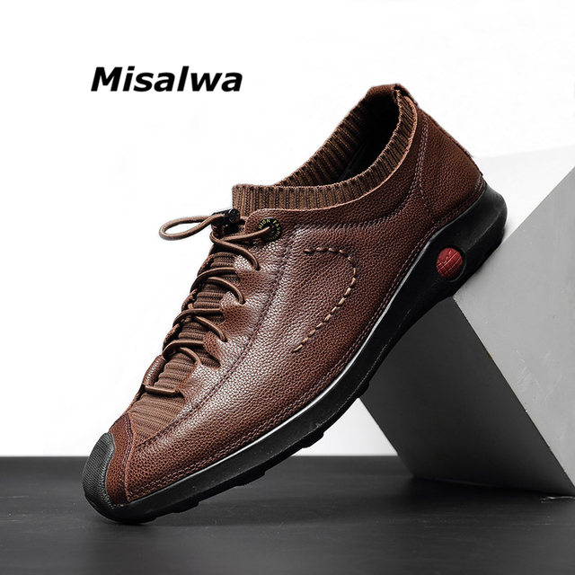 ca709860774 Misalwa Luxury Elastic Shoelace Breathable Patchwork Genuine Leather Men  Sneakers Toe Protect Casual Male Loafers