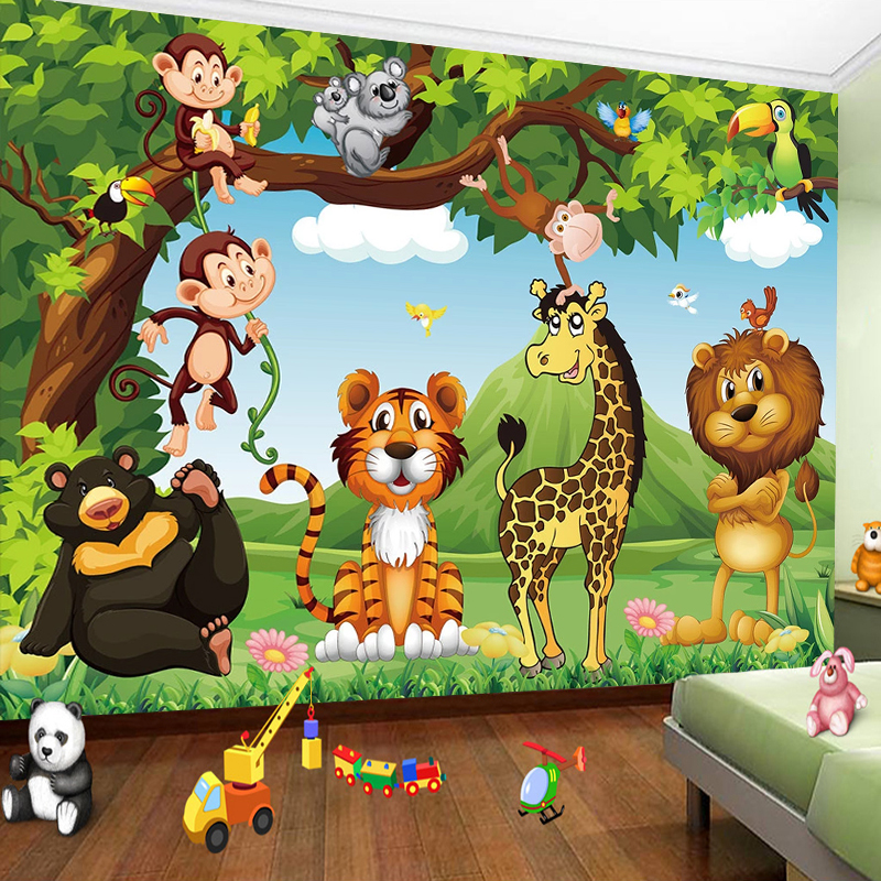 Custom 3D Photo Wallpaper For Kids Room Cartoon Animal Tiger Lion Poster Children Room Bedroom Wall Decoration Mural Wallpaper