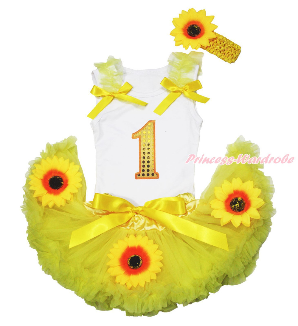 ФОТО White Top Summer Yellow Bling Birthday 1ST Sunflower Baby Skirt Outfit Set 3-12M MAPSA0726